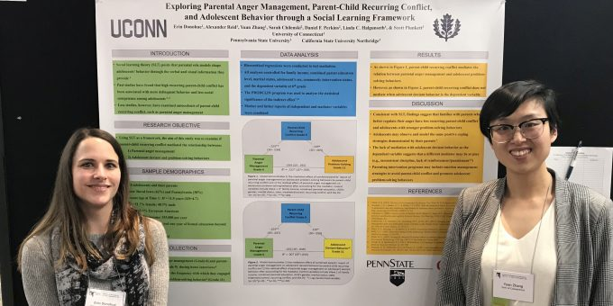 Erin Donohue and Yuan Zhang present their poster at the Society for Research on Adolescence (SRA) Biennial Meeting
