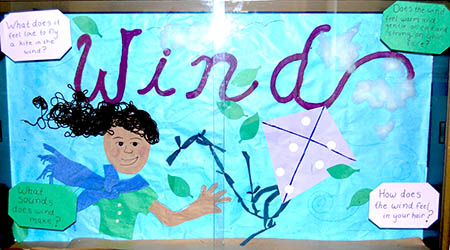 colorful bulletin board decoration showing windy day